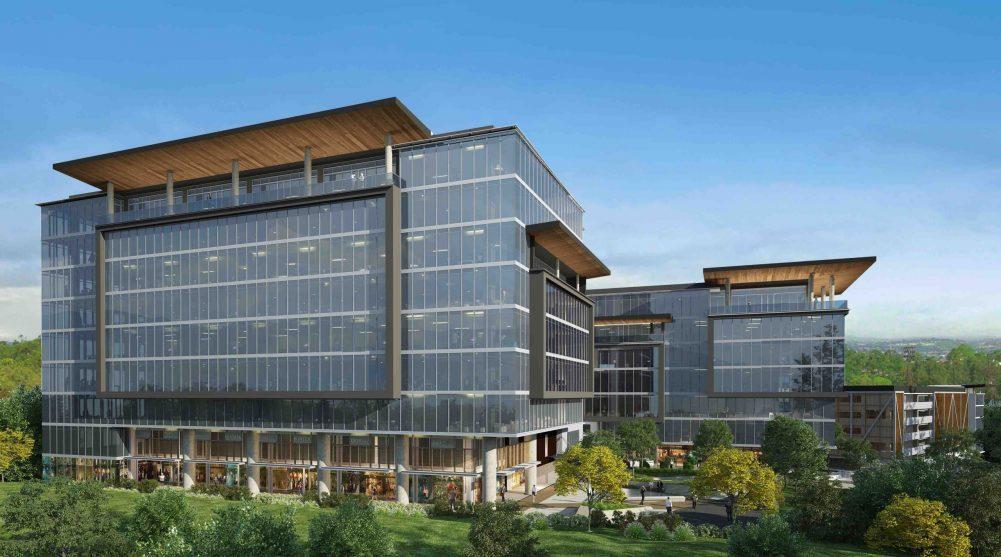 """Este centro de negocios cuenta con nuevas tendencias de protección y salud, como los sistemas de acceso libre de contacto """"Touch Free Access"""". Su diseño está previsto para 2 torres de oficinas de 9 y 7 niveles (respectivamente) y una plataforma de parqueos."""