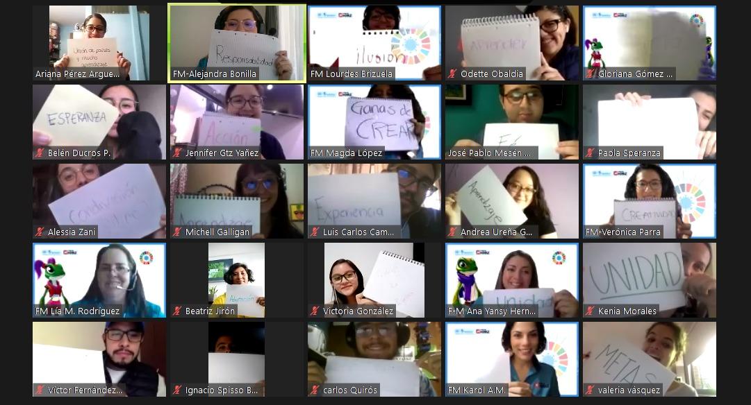 """Los jóvenes participaron del taller """"Sentir en Común-Unidad: Una Mirada Joven para Transformar"""" organizado por UNITAR y Fundación Monge."""